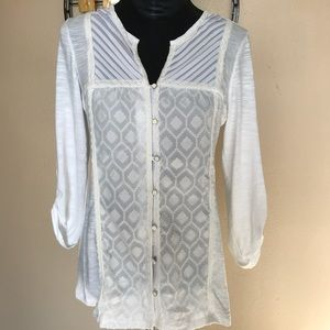 NY COLLECTION Semi-sheer lace front blouse
